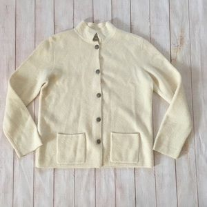 Vintage Fieldgear 100% Wool Cream Cardigan Sweater